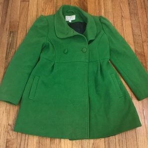 Green Pea Coat with navy lining